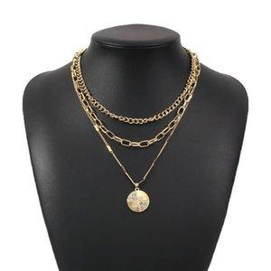 Cadeias camadas de ouro moeda cadeia colar mulheres pingente colares 2021 decorações para meninas na moda jóias vintage