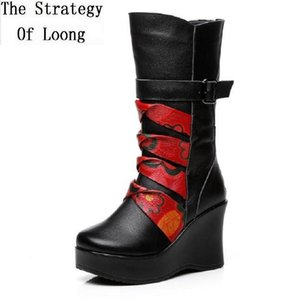 Winter National Style Women Genuine Leather Super High Heels Buckle Platform Half Boots Ladies Plush Mid-Calf Knight Boots 1912