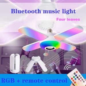 E27 LED Lampadina RGB Four Leaves Bluetooth Music Light 50W con telecomando Lampadina pieghevole Bluetooth Smart Smart Phill Light