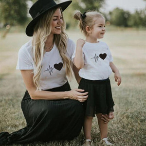 Family Matching Outfits Mommy And Me Clothes Heart Print Summer Mother Daughter Son Women T-shirt Baby Girl Boys T Shirt1