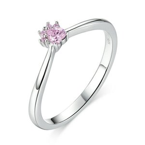 Fashion European Women Girls Soild 925 Sterling Silver Solitaire Engagement Ring Pink Pet Claw Gifts