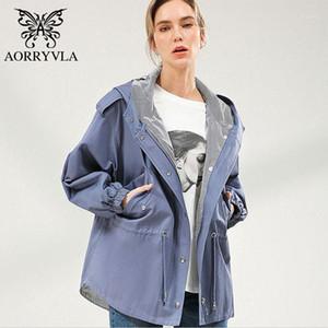 Aorryvla Casual kadın Trençkot Pamuk Haki Boy Kapüşonlu Trençkot Gevşek Tarzı Koreli Kadın Giysileri Bahar 20201