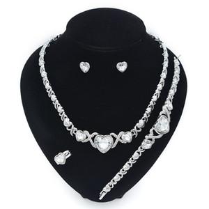 Juego de joyas de Hip Hop para collar de mujer Conjunto de joyería de boda Pendientes Pendientes XOXO Collar Pulseras Regalos 201222