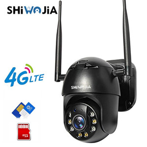 SHIWOJIA IP Camera 4G SIM Card Wifi 4X Digital Zoom PTZ Video Surveillance Black Dome Wireless GSM Security Outdoor P2P SD Card