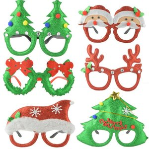Christmas Cute Cartoon Glasses Frame Glittered Eyeglasses No Lens for Kids Adults Xmas Party Decoration Cosplay DHD2587