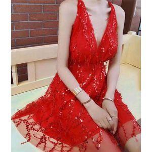 Elegant Halter Sequin Sexy Mini Dress Women Backless Bandage Sleeveless Dresses Party Skinny Nightclub Deep V Neck Vestidos