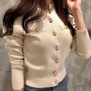 Women O Neck Knitted Full Sleeve Cropped Buttons Slim Sweaters Cardigans Lady Single breasted Sweater Crop Tops for Female