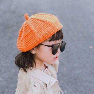 Unissex crianças boinas coloridas Boinas Crianças malha inverno quente Cap Pintores Chapéu de abóbora do bebê