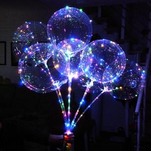 LED Bobo Balloon With 31.5inch Stick 3M String Balloon LED Light Christmas Halloween Birthday Balloons Party Decor Bobo Balloons BEA54
