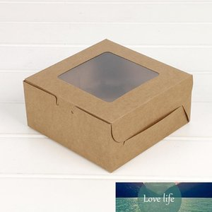 Cupcake box with window Gift Packaging For Wedding Home Party 4 Cup Cake Holders White Brown kraft paper box Customized