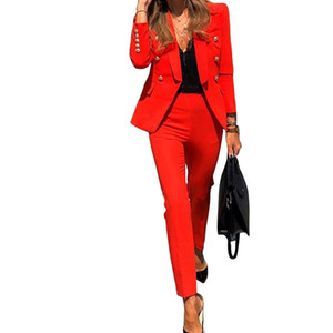 Women Blazer Set Long Sleeve Double Breasted Blazers Pencil Pants Suit Office Lady Two Piece Set Tracksuits Casual Outfits