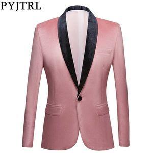PYJTRL Men Shawl Lapel Peach Pink Velvet Slim Fit Blazers Wedding Groom Prom Dress Tuxdudo Coat Hombre Plus Size Suit Jacket 201113