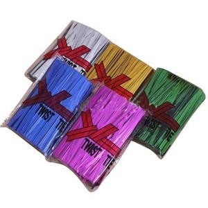 Gift Ribbon 400pcs bag 4*60mm Metallic Twist Ties For Cake Pops Kit Sealing Cello Bags Lollipops Pack F125