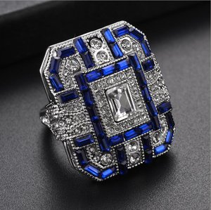 2020 Fashion Brand Titanium Steel men's Jewelry new factory direct wholesale diamond blue crystal square women's ring