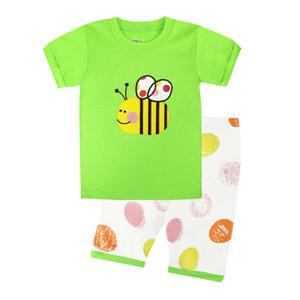 Summer New Children's Pijamas Home Traje Verde Bee Top Pantalones