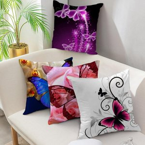 Fuwatacchi Butterfly Cushion Covers Animal Flower Pillow Cover for Sofa Chair Home Decoration Painted Throw Pillowcases 45*45cm