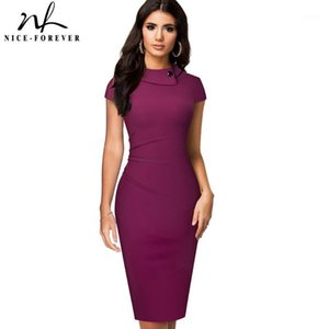 Nice-forever Vintage Elegant Pure Color with Button Office Work vestidos Business Formal Bodycon Women Pencil Dress B5741