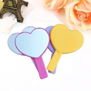 심장 메이크업 거울 여성 여성 핸들 손 루킹 레이디스 싱글 사이드 다채로운 콤팩트 거울 얇은 휴대용 2 4mx C2