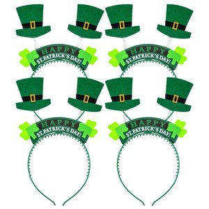 8 Pieces St. Patrick's Day Snap-On Headband Green Head Boppers- Shamrock Clover Top Hat - Party Costume Decorations