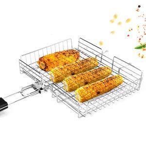 Rectángulo antiadherente Cesta de asado a la parrilla Plegable Barbacoa Parrilla Cesta de verduras Conjunto de madera negra Mango de madera BBQ Carne Barbacoa Accesorios Herramienta T200111