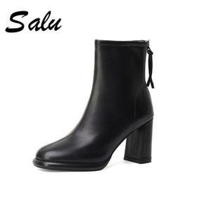 Salu 2020 fashion Genuine Leather Women's Ladies Platform Round Toe Chunky Heels Pumps Winter Casual Office Shoes Woman