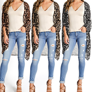 Shirts Women Long Vintage Kimono Cardigan Leopard Printed Blouse Casual Loose Beach Cover Up Summer Top Shirt