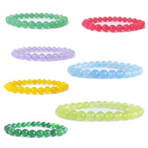8MM Fashion Brand Luxury Glass Natural Stone Healing Crystal Stretch Beaded Bracelet Women Men Handmade Precious Gemstone Round Bracelets