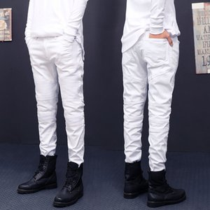New arrival mens Stretch cotton hip hop white black skinny biker jeans Pleated on the knee fz2340
