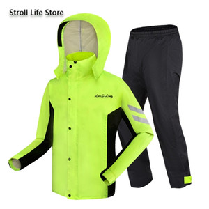 Adult Men Rain Coat Pants Suit Motorcycle Raincoat Women Riding Green Waterproof Jacket Raincoats Mens Sports Suits Rainwear 201015