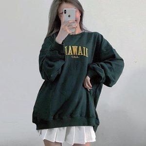 Frauen Hoodies Sweatshirts Frauen Stickerei Buchstaben Front Übergroßes Sweatshirt in dunkelgrün