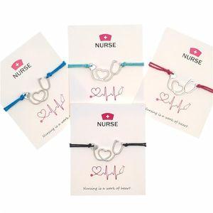 Regalo di Natale Infinity cuore Nurse Benedizione carta del braccialetto di personalità Stetoscopio corda regolabile braccialetti di fascino braccialetto dell'annata Gioielli