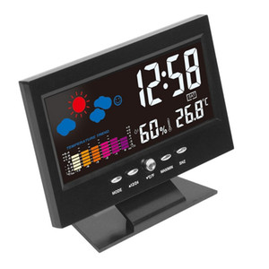 Electronic Digital LCD TEMPERATUME DI Umidità Monitor Orologio Termometro Igrometro Igrometro Indoor Indoor Home Previsioni meteo Orologio