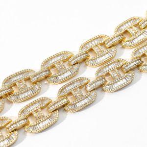 Miami Hop Big Baguette Link Cuban Colors Chain 2 Zircon Iced Jewelry Box Clasp Necklace Out Hip H Mens 16mm BbyOkX Idhbp