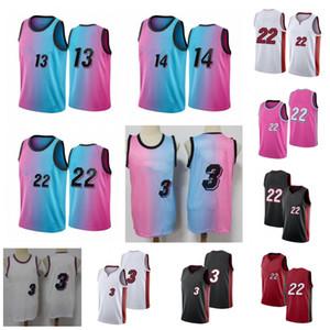 NCAA 3 Wade Men Jerseys Jerseys Jimmy 22 Butler Goran 7 Dragic Tyler 14 Herro Hassan 21 Whiteside Shorts Bordados 100% Costura