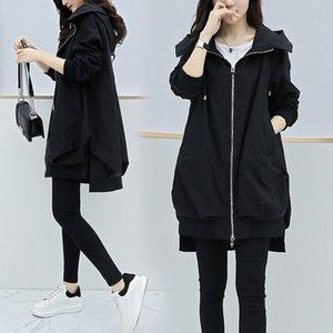 2021 autumn New Korean style celebrity online like bat zipper female mid-length fashion jacket J0WO