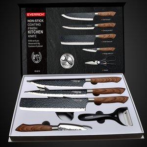 الفولاذ المقاوم للصدأ سكاكين المطبخ مجموعة أدوات مزورة سكين مطبخ مقص السيراميك مقشرة الشيف القطاعة Nakiri سكين التقشير حالة هدية 201026