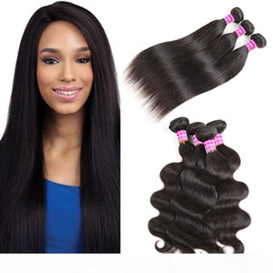 Unprocessed 10a Brazilian Virgin Hair Bundles Vendors Straight Human Hair Weaves Body Wave Hair Extensions Wefts Natural Color Free Shipping