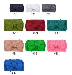 35 Colores Baby Knot Diadema Girls Big Bow Deedbands Elastic Bowknot Hairbands Turban Solid Headwear Baby Head Wrap Wrap Banda de pelo EWC1628