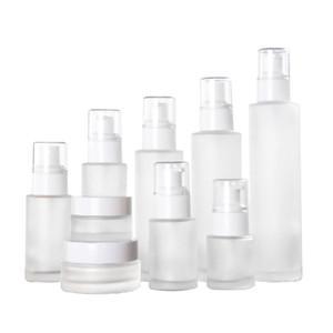 20ml 30ml 40ml 60ml 80ml 100ml 120ml Buzlu Cam Şişe Kozmetik Losyon Pompası Şişe Doldurulabilir Sıvı Parfüm Şişeleri Spray