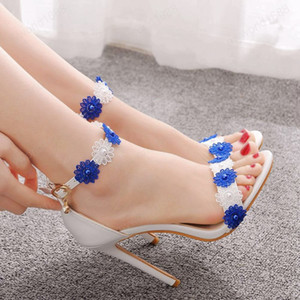 Summer Women Sandals White and blue Lace Fine High Heels Slender Bridal Pumps Wedding Shoes Peep Toes Buckle Strap