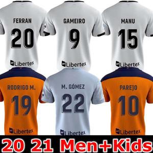 Top Thailand Valencia 축구 유니폼 2020 2021 Guedes Gameiro Camisetas de Fútbol Rodrigo M. Florenzi M.Gómez 남자 키트 축구 셔츠