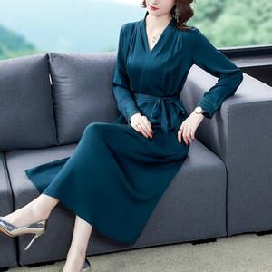 mulheres de seda BysZH Temperamento skirtmulberry 2020 mid outono comprimento bordado vestido skirtlong saia manga longa meados de seda vestido de comprimento 5kvyl