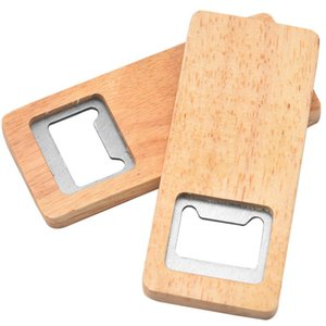 Wood Beer Bottle Opener Stainless Steel With Square Wooden Handle Openers Bar Kitchen Accessories Party Gift DHD2595