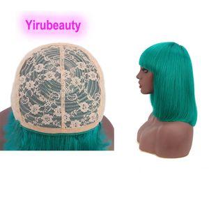 Индийские 100% человеческие волосы Faperless Bob парики прямые волосы девственницы Mahcine-Made WIG 12-16 дюймов Боб Парики красный синий желтый 150% плотность