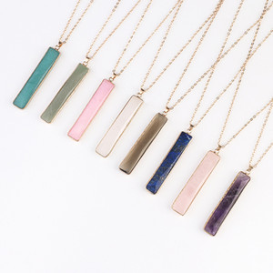 Crystal Natural Stone Pendant Necklace Fashion Baguette Pendant 10 Color Crystal Stone Decoration Pendant Party Gift