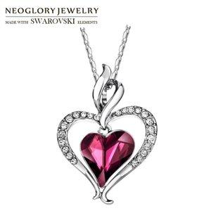 Neoglory Rhinestone di cristallo lungo pendenti di fascino Dichiarazione pendente Double Love Hearts Design elegante alla moda del regalo delle donne
