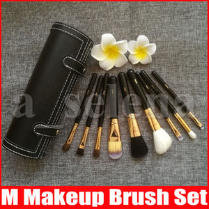 M 9 Pcs Makeup Brushes Set Kit Travel Beauty Professional Wood Handle Foundation Lips Cosmetics Makeup Brush with Holder Cup Case