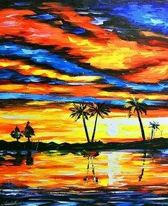 Leonid Afremov Tropikal Sunset Ev Dekorasyonu Handpainted HD Yağ Tuval Wall Art Canvas Resimler İçin Living Room 201.006 On Boyama yazdır