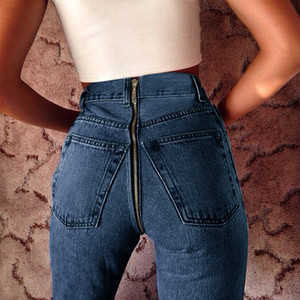 Hot Sale 2020 New Sexy Back Zipper Long Jeans Women Basic Classic High Waist Skinny Pencil Light Blue Denim Pants Elastic Stretch Jeans