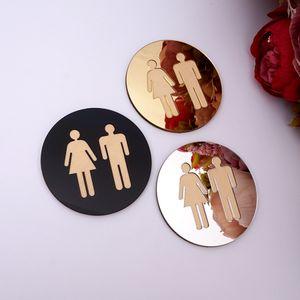 5mm 3D Acrylic Mirror Round Toilet Door Sign Men Women Bathroom WC Black Gold Silver Modern Wood Base Wall Sticker Home Decor